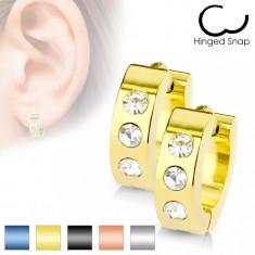 Cumpara ieftin Cercei din oțel chirurgical - trei zirconii de culoare clară - Culoare: Auriu