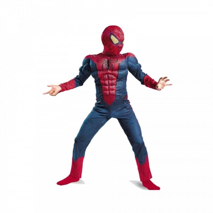 Costum Spiderman cu muschi Infinity War pentru copii, S, 95 - 110 CM, 3 - 5 ani