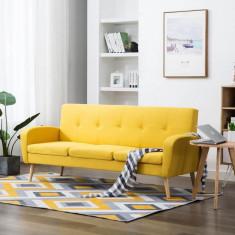 Canapea de 3 persoane, material textil, galben