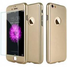 Husa Full Cover 360° fata + spate + geam sticla pentru iPhone 7 Gold