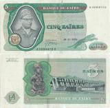 1976 ( 24 XI ) , 5 zaïres ( P-21a.4 ) - Zair