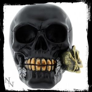 Statueta craniu negru Un trandafir de dincolo de moarte 15 cm