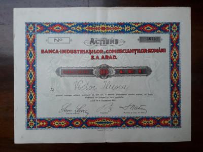 500 Lei 1925 Banca Industriasilor Arad / actiuni vechi / actiune veche Romania foto