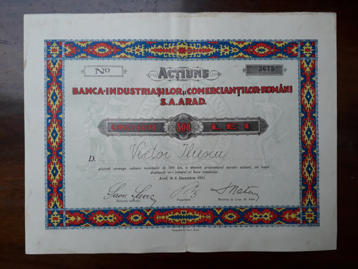 500 Lei 1925 Banca Industriasilor Arad / actiuni vechi / actiune veche Romania