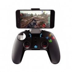 Controller, Joystick telefon gaming Dualshock, vibratii & lumini, ANDROID & IOS, AKASHI, Wireless & Bluetooth, Negru