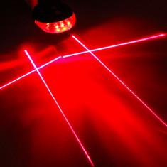 Stop 5 led pentru bicicleta si 4 lasere traseu X, culoare rosie, laser rosu