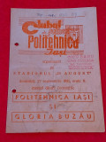 Program meci fotbal POLITEHNICA IASI - GLORIA BUZAU (27.09.1981)