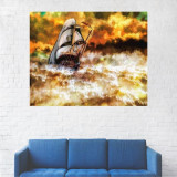 Tablou Canvas, Peisaj Artistic Barca pe Mare - 40 x 50 cm