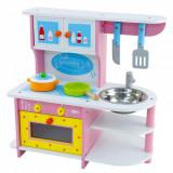 Bucatarie din lemn pentru fete, roz cu cuptor si ustensile