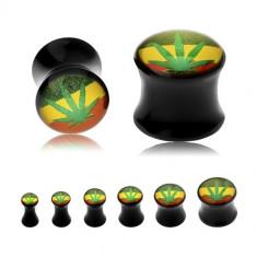 Plug șa neagră pentru ureche, frunză verde de canabis pe fundal tricolor rasta - Lățime: 4 mm