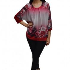 Bluza rafinata, material tip voal cu flori,masura mare,nuanta de rosu