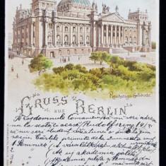 GRUSS AUS BERLIN - REICHSTAGS GEBAUDE - SALUTARI DIN BERLIN - CLADIREA REICHSTAGULUI , CARTE POSTALA ILUSTRATA , LITOGRAFIE , POLICROMA , CIRCULATA