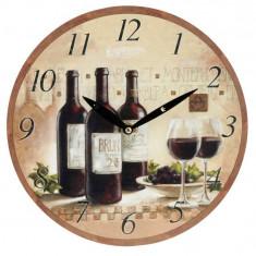 Ceas de perete crem cu model sticla de vin rosu