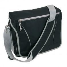 Geanta de umar, negru, gri, Everestus, GU05AA, poliester 600D, saculet de calatorie si eticheta bagaj incluse