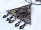 MEDALION argint KABYLE BERBER etnic TRIBAL de efect OPULENT vechi pe Lant argint