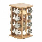 Cumpara ieftin Set recipiente pentru depozitare condimente, cu suport din bambus, Bamboo Natural, 17 piese