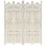 Paravan cameră sculptat manual 4 panouri alb 160x165 cm mango, vidaXL