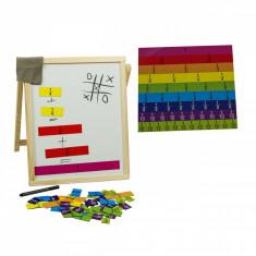 Tabla de scris din lemn cu fractii matematice