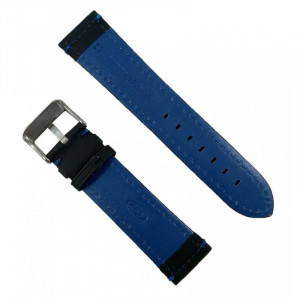 Curea Ceas Neagra Cusatura Albastra Piele Naturala 22mm WZ2279