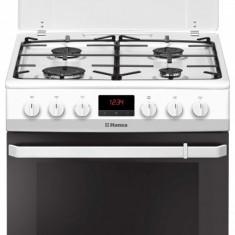 Aragaz mixt Hansa FCMW68299, cuptor electric, 60 cm, 4 arzatoare, display, 8 functii, grill, ventilator, sertar depozitare, aprindere electrica, sigur
