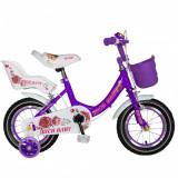 Bicicleta fete Rich Baby T1205C 12 inch C-Brake cu roti ajutatoare 2-4 ani movalb