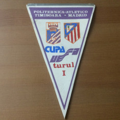 fanion politehnica timisoara atletico madrid meci fotbal 1990 cupa uefa turul 1