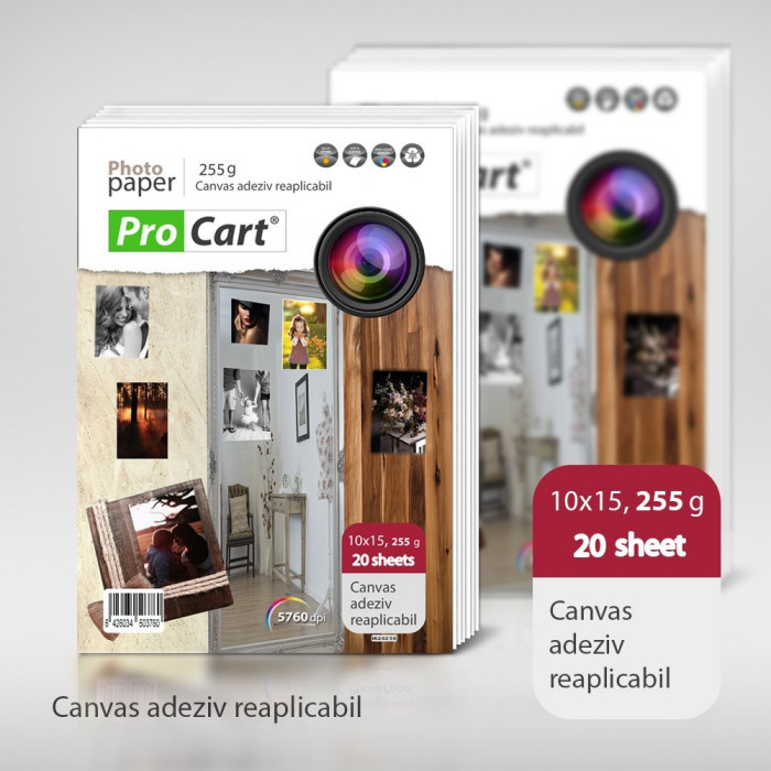 Canvas foto adeziv inkjet reaplicabil pe orice suprafata, 10x15 cm, 255 g