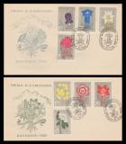 1957 Romania, 2 FDC Flora carpatina, LP 432, varietati marime plicuri