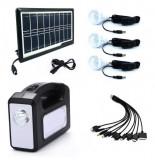 Kit Lanterna cu panou solar si 3 becuri, slot USB pentru incarcare telefon