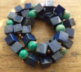 Colier lapislazuri, regalit verde turcoaz si cupru