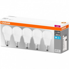 Set de 5x bec Led Osram, LED BASE CLASSIC A, E27, 8.5W (60W), 220-240 V, lumina neutra (4000K)