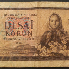 Bancnota 10 KORUN / COROANE - RS CEHOSLOVACIA, anul 1960  *Cod 163