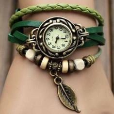 Ceas dama ieftin pandantiv frunza, verde