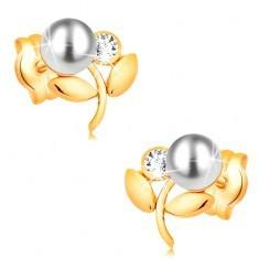 Cercei din aur galben 14K - floare cu perlă albă și zirconiu transparent