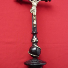 CRUCIFIX VECHI LEMN SI METAL