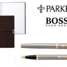 Caseta cadou Pix Roller Parker Accesorii Aur 23 kt. Brushed Metal si Note Pad Hugo Boss personalizabil