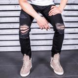 Blugi pentru barbati negri slim fit conici casual skinny rupturi genunchi 0054