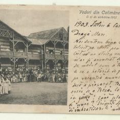cp Calimanesti : O zi de sarbatoare in 1902 - UPU, circulata 1903