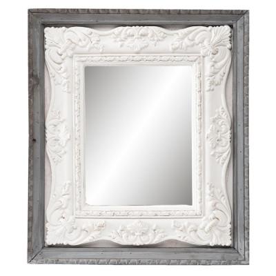 Oglinda decorativa perete lemn gri alb 41*4*47 cm foto