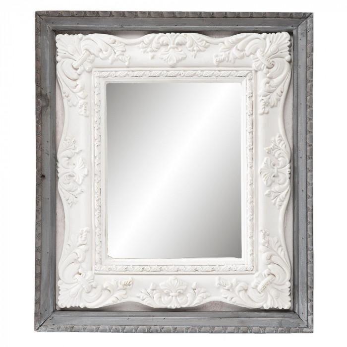 Oglinda decorativa perete lemn gri alb 41*4*47 cm