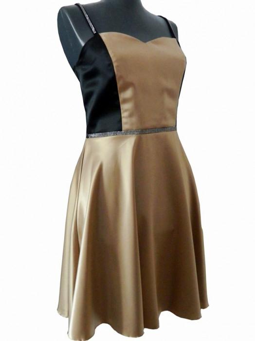 Rochie de seara din satin de culoare bej cu negru Alize