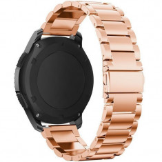 Curea metalica Smartwatch Samsung Gear S3, iUni 22 mm Otel Inoxidabil, Rose Gold