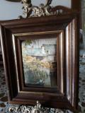 Mica pictura pe matase , cu rama generoasa din lemn