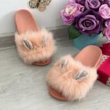 Cumpara ieftin Papuci roz cu blanita si urechi / slapi / sandale pt fetite 27 28