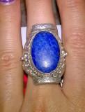 Unic! l inel , ghiul argint 835 antic cu lapis lazuli natural masiv!