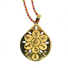 Amuleta medalion cu Om Mani Padme Hum
