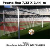 Poarta de fotbal profesionala aluminiu, fixa 7,32 x 2,44 m dimensiune oficiala,