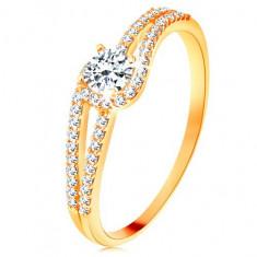 Cumpara ieftin Inel din aur 375 cu brațe strălucitoare despicate, zirconiu transparent - Marime inel: 58