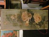 """CA - Tablou foarte vechi """"Tandafiri"""" u/p semnat """"Eufrozina"""" panza cu 3 defecte"""