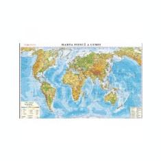 Harta fizica a lumii /Harta de contur (verso), 500x350 mm, fara sipci (LGHR3)